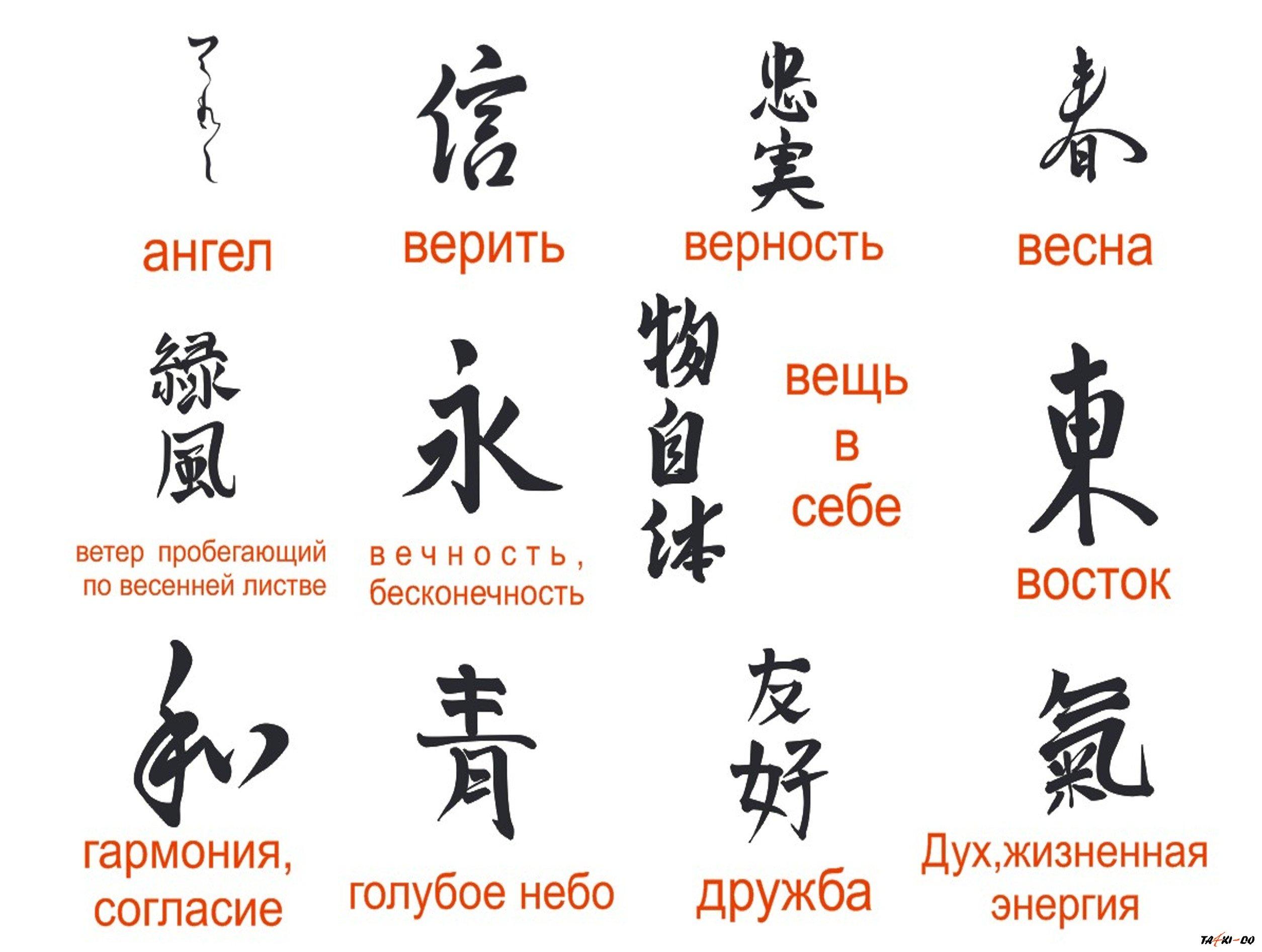 Тату китайские иероглифы фото