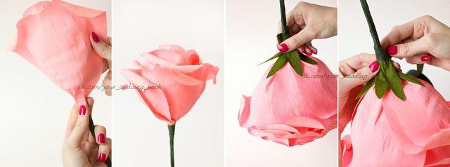 Роза из крепированной бумаги своими руками видео 160